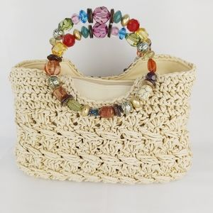 Straw woven wicker with multicolored beads handle